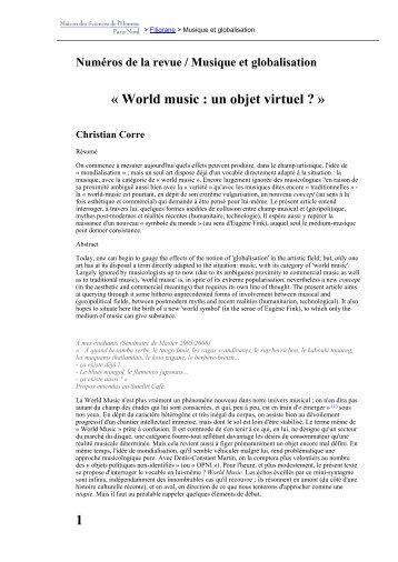 « World music : un objet virtuel ? » 1 - Revues en ligne
