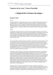 Subjectivité et formes du temps » Pascale Criton - Revues en ligne