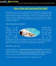 Swimming Pool Leak Repair