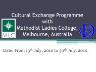 Cultural Exchange Programme with Methodist Ladies College ...