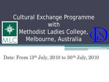 Cultural Exchange Programme with Methodist Ladies College ...
