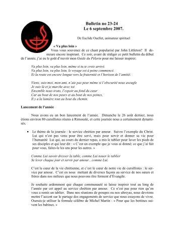 Bulletin no 23-24 Le 6 septembre 2007. - Diocèse de Rimouski