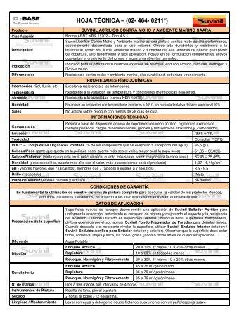 HOJA TÉCNICA – (02- 464- 0211*) - Suvinil