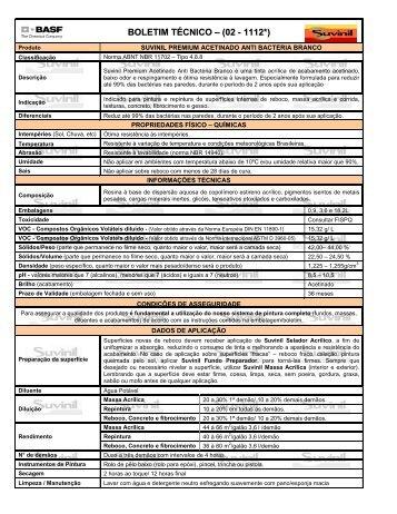 BOLETIM TÉCNICO – (02 - 1112*) - Suvinil