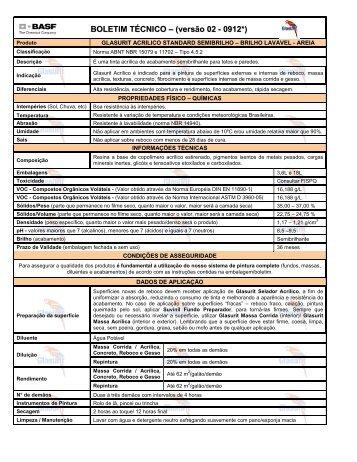BOLETIM TÉCNICO – (versão 02 - 0912*) - Suvinil