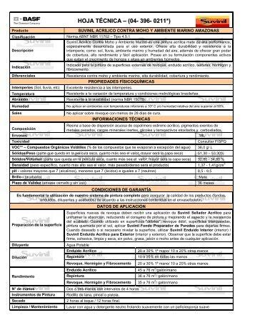 HOJA TÉCNICA – (04- 396- 0211*) - Suvinil