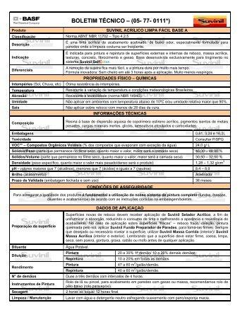 BOLETIM TÉCNICO – (05- 77- 0111*) - Suvinil