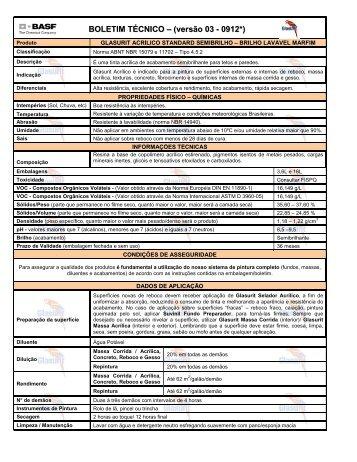 BOLETIM TÉCNICO – (versão 03 - 0912*) - Suvinil