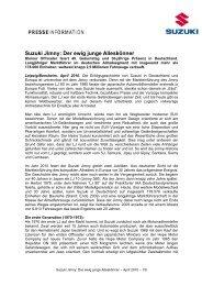 Suzuki Jimny: Der ewig junge Alleskönner - Suzuki-presse.de