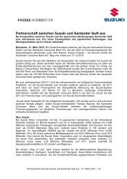 Partnerschaft zwischen Suzuki und Santander ... - Suzuki-presse.de