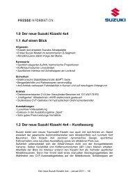 1.4_Suzuki_Kizashi_Ausstattungsuebersicht und ... - Suzuki-presse.de