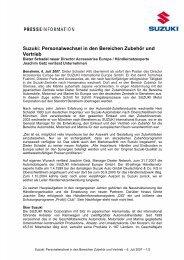 Suzuki: Personalwechsel in den Bereichen ... - Suzuki-presse.de