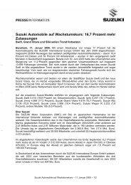 Suzuki Automobile auf Wachstumskurs: 16,7 ... - Suzuki-presse.de