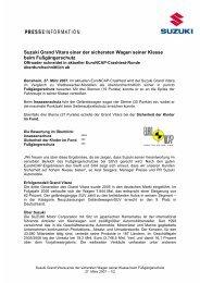 Suzuki Grand Vitara einer der sichersten Wagen ... - Suzuki-presse.de