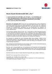 """Neues Suzuki-Sondermodell SX4 """"city+"""" - Suzuki-presse.de"""