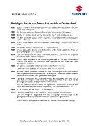 Modellgeschichte von Suzuki Automobile in ... - Suzuki-presse.de