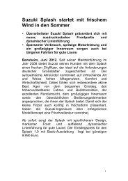 Suzuki Splash startet mit frischem Wind in den ... - Suzuki-presse.de