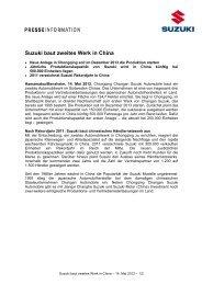 Suzuki baut zweites Werk in China - Suzuki-presse.de
