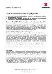 AUTO BILD kürt Suzuki Alto zum Spritsparer Nr. 1 - Suzuki-presse.de
