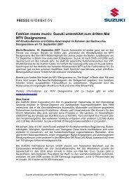 Suzuki unterstützt zum dritten Mal MTV ... - Suzuki-presse.de