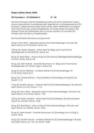 Ringen Aufbau-Klasse ARGE KSV Konstanz I – SV Dürbheim II 21 ...
