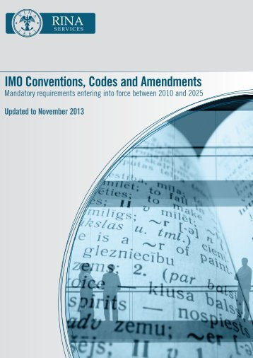 RINA SERVICES IMO Conventions, Codes and Amendments