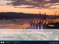 Programme stratégique international 2012 des RCVM