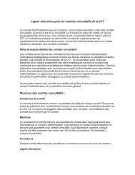 Lignes directrices pour les comités consultatifs de la CCT Structure ...