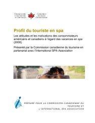 Identifying the Spa Traveler: - La Commission canadienne du ...