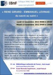 RENE GIRARD - EMMANUEL LEVINAS : du sacré au saint - Société ...