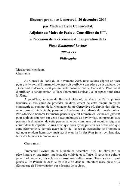 Discours Lyne Cohen-Solal - Société Internationale de Recherche ...