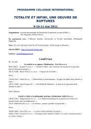 TOTALITE ET INFINI, UNE OEUVRE DE RUPTURES - Société ...