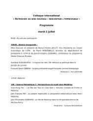 Colloque international Programme mardi 5 juillet - Société ...