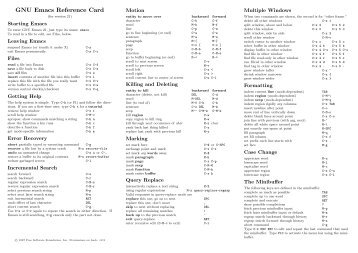EMACS23 REFERENCE CARD PDF