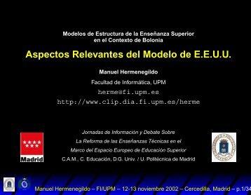 Aspectos Relevantes del Modelo de E.E.U.U.