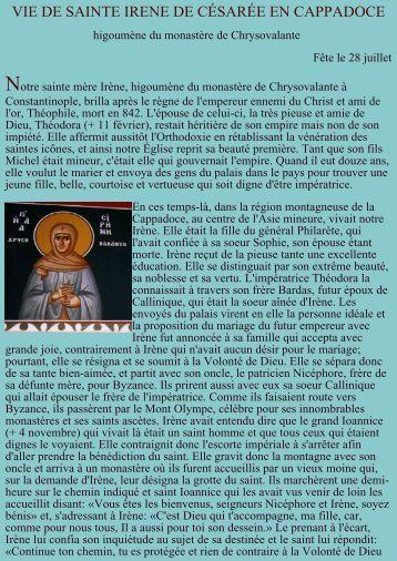 Vie de sainte Irène de Chrysovalante