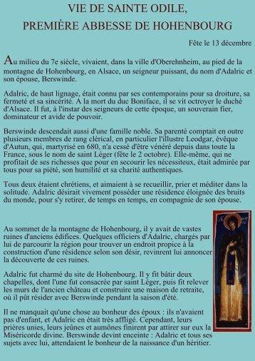Vie de sainte Odile - LE SITE DES VCO