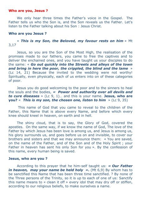 Who are you, Jesus ? We only hear three times the ... - Alleluia France