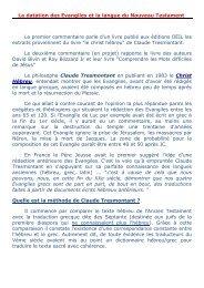 La datation des Evangiles et la langue du Nouveau ... - Alleluia France