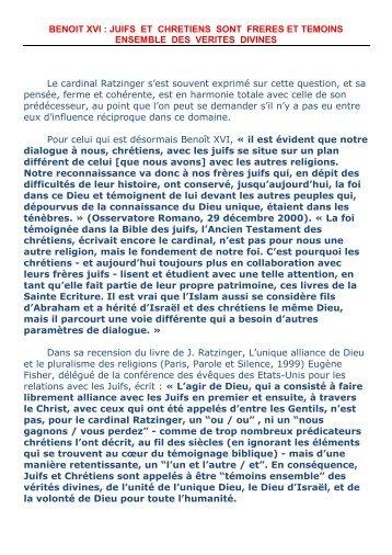Joseph Ratzinger et les juifs : plus qu'une continuité - Alleluia France