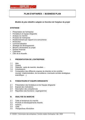 plan d'affaires / business plan - Conseil Supérieur de l'Ordre des ...