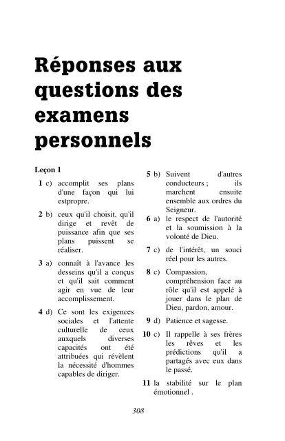 Réponses aux questions des examens personnels