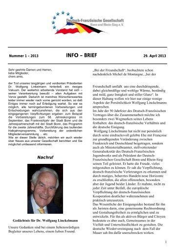 InfoBrief 2013-1 - Deutsch-Französische Gesellschaft Bonn und ...