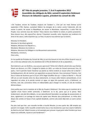 FPJ 2012, discours S. Lapaire, assemblée des délégués