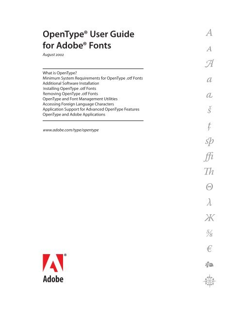 OpenType User Guide for Adobe Fonts - Linotype