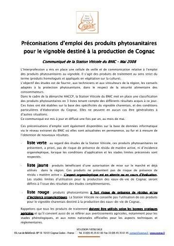 Préconisations d'emploi des produits phytosanitaires pour le ...