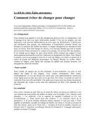 Comment éviter de changer pour changer?
