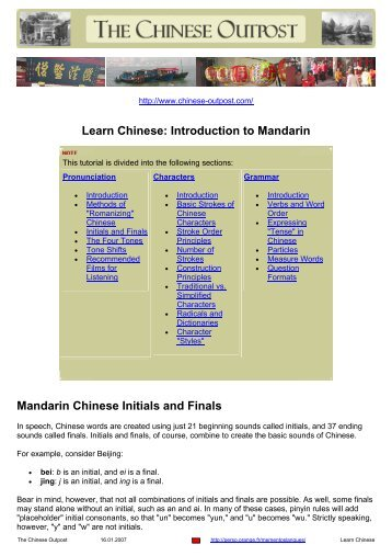 Learn Chinese: Introduction to Mandarin Mandarin Chinese Initials ...
