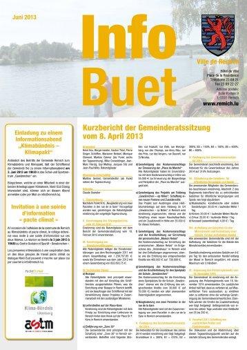 Kurzbericht der Gemeinderatssitzung vom 8. April 2013 - Remich