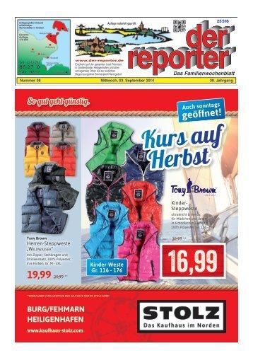 der reporter - Das Familienwochenblatt für Fehmarn 2014 KW 36